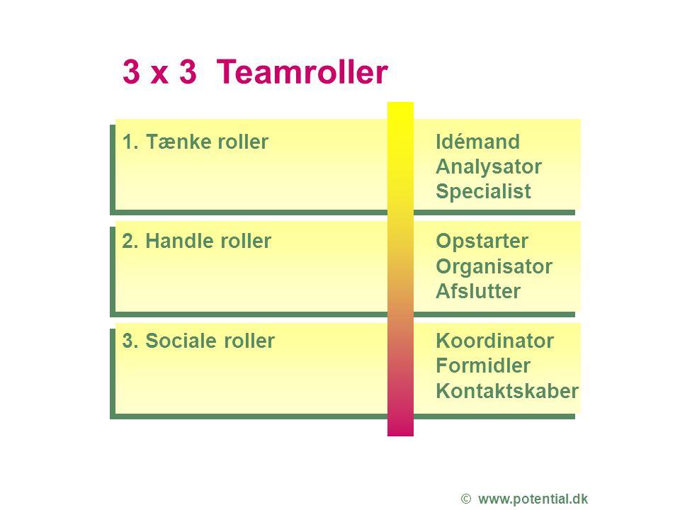 3 x 3 Teamroller 1. Tænke roller 2. Handle roller 3. Sociale roller