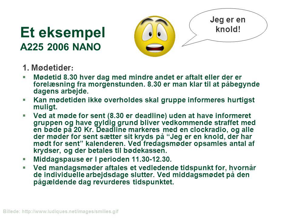 Et eksempel A225 2006 NANO Jeg er en knold! 1. Mødetider: