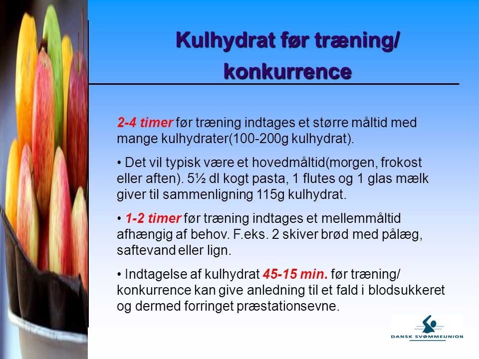 Kulhydrat før træning/ konkurrence