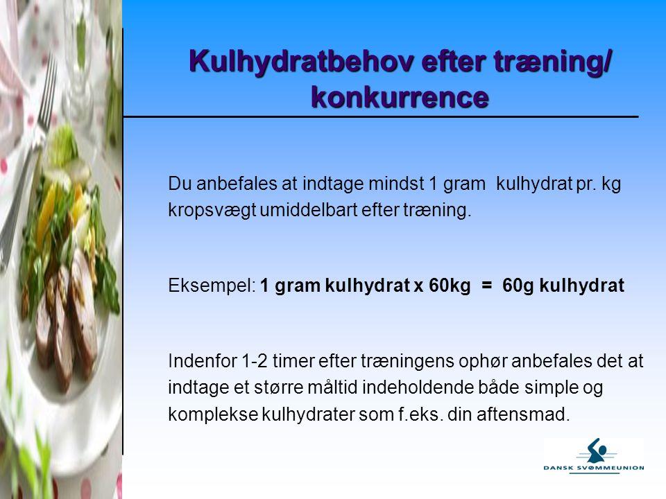 Kulhydratbehov efter træning/ konkurrence