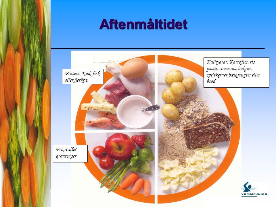 Aftenmåltidet Kulhydrat: Kartofler, ris, pasta, couscous, bulgur, speltkerner bælgfrugter eller brød.