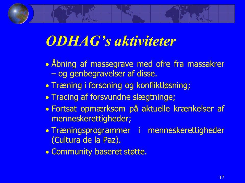 ODHAG's aktiviteter Åbning af massegrave med ofre fra massakrer – og genbegravelser af disse. Træning i forsoning og konfliktløsning;