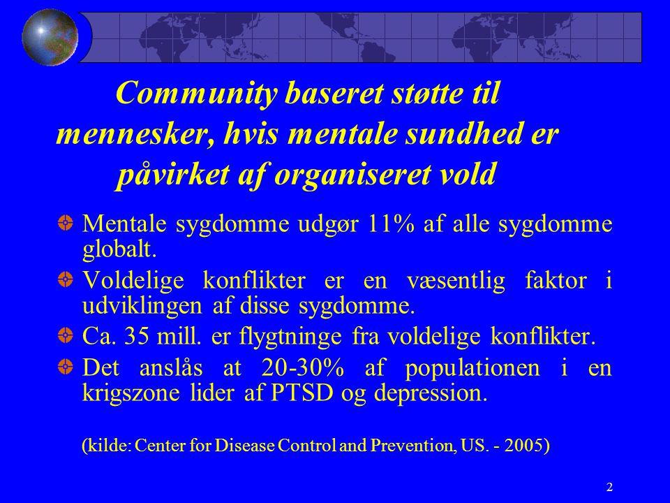 Community baseret støtte til mennesker, hvis mentale sundhed er påvirket af organiseret vold