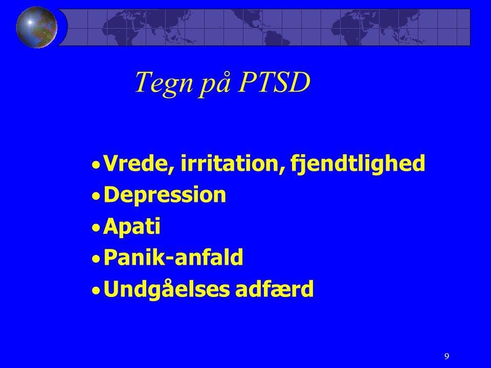Tegn på PTSD Vrede, irritation, fjendtlighed Depression Apati