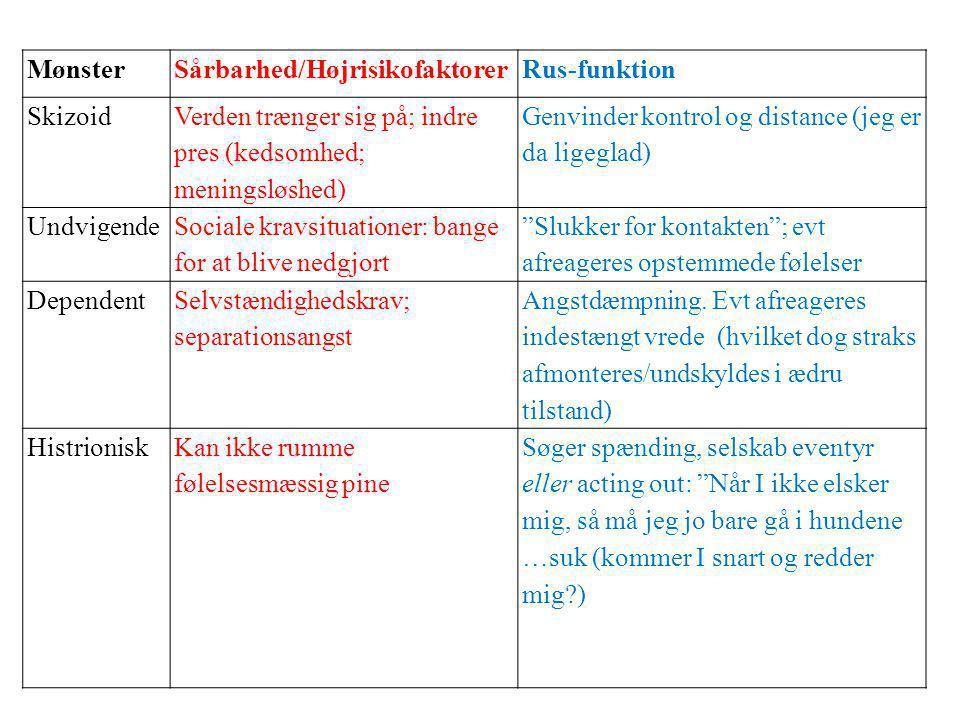 Mønster Sårbarhed/Højrisikofaktorer. Rus-funktion. Skizoid. Verden trænger sig på; indre pres (kedsomhed; meningsløshed)