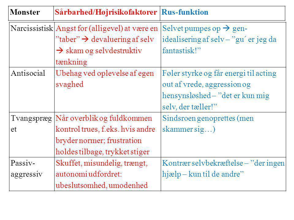 Mønster Sårbarhed/Højrisikofaktorer. Rus-funktion. Narcissistisk.