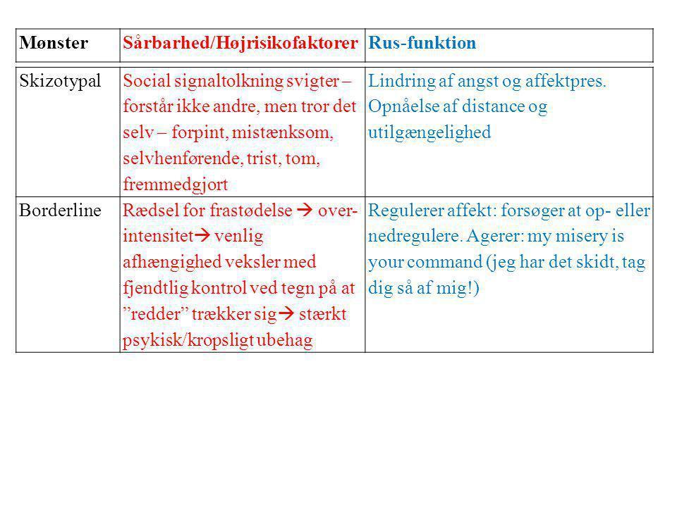 Mønster Sårbarhed/Højrisikofaktorer. Rus-funktion. Skizotypal.