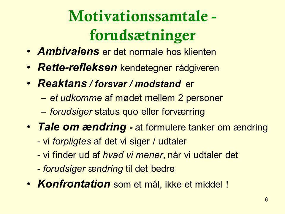 Motivationssamtale - forudsætninger