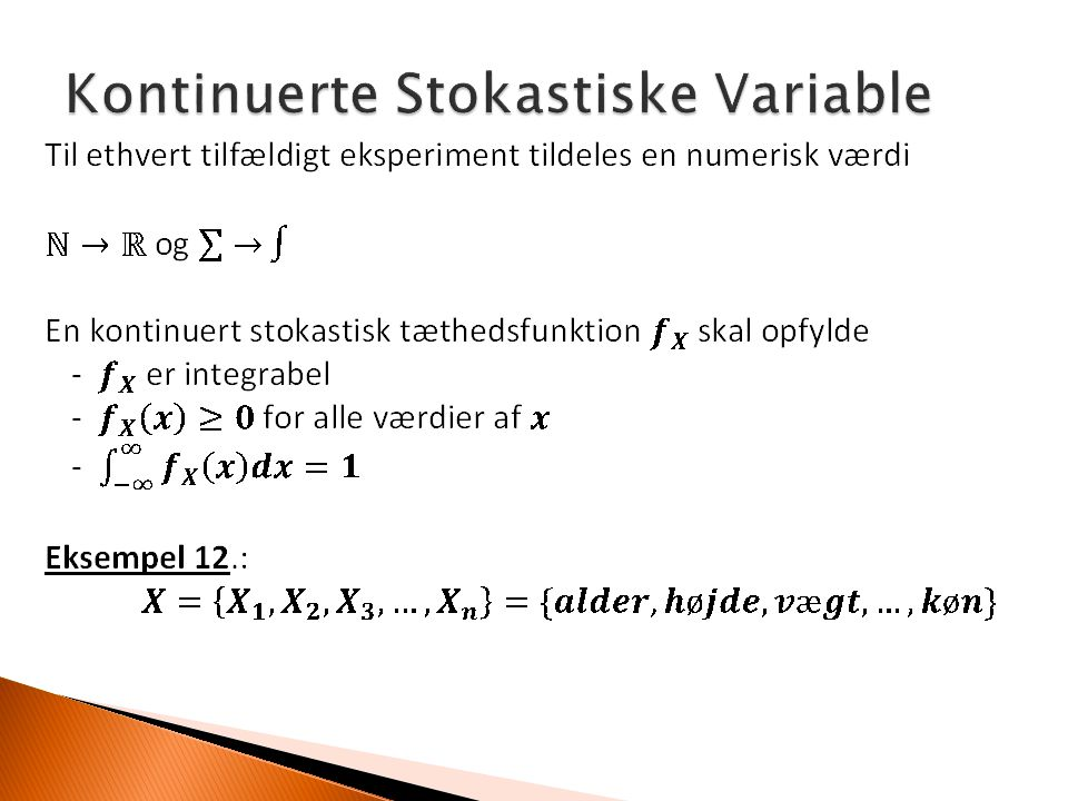 Kontinuerte Stokastiske Variable