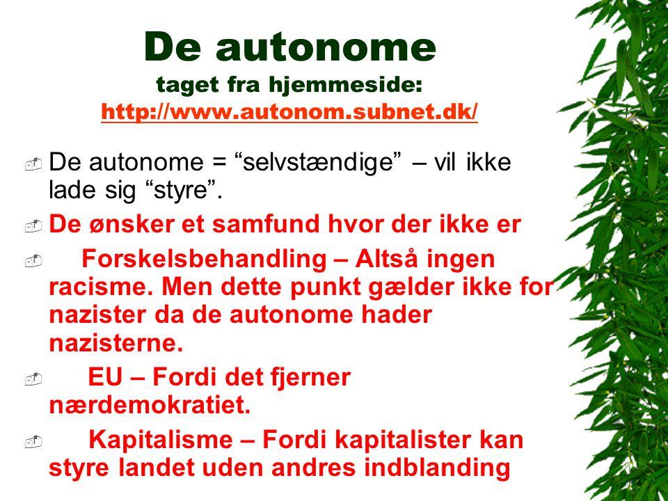 De autonome taget fra hjemmeside: http://www.autonom.subnet.dk/