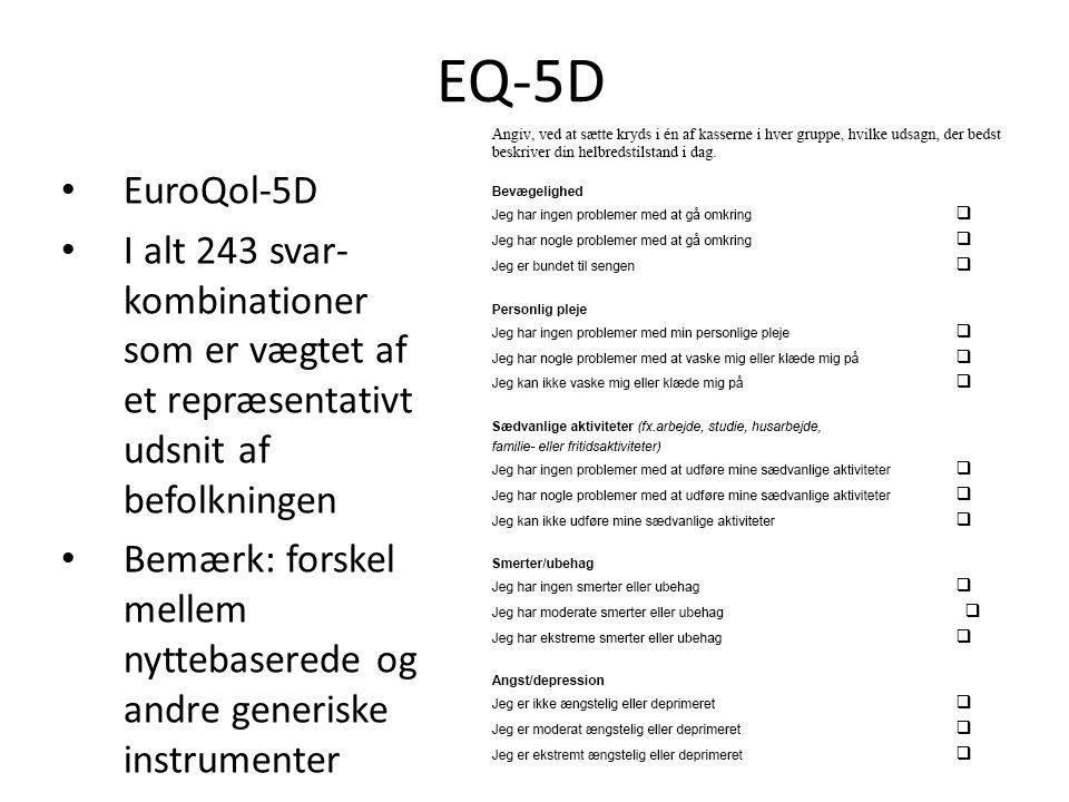 EQ-5D EuroQol-5D. I alt 243 svar-kombinationer som er vægtet af et repræsentativt udsnit af befolkningen.