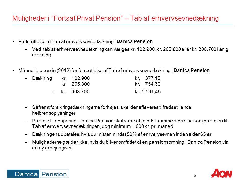 Muligheder i Fortsat Privat Pension – Dødsdækning og kritisk sygdom