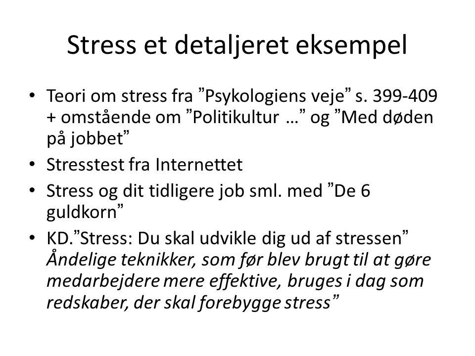 Stress et detaljeret eksempel