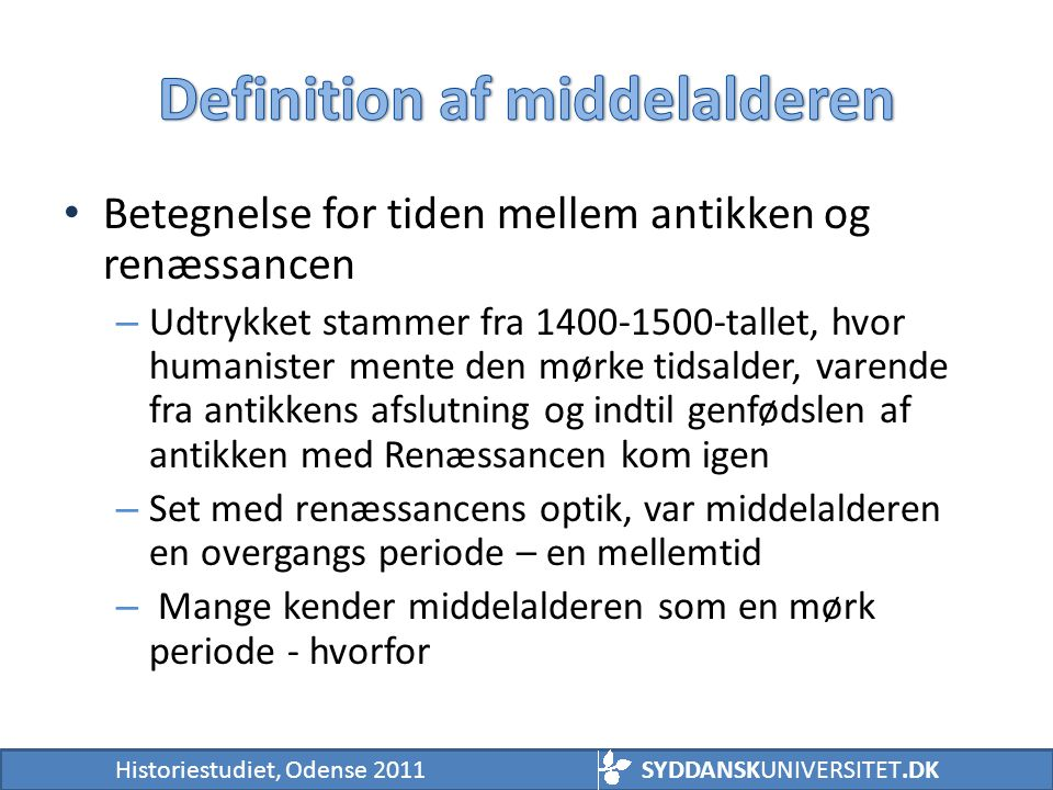 Definition af middelalderen
