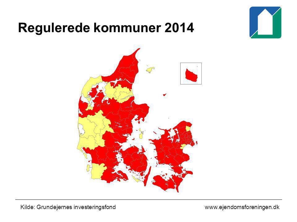 Regulerede kommuner 2014 Kilde: Grundejernes investeringsfond