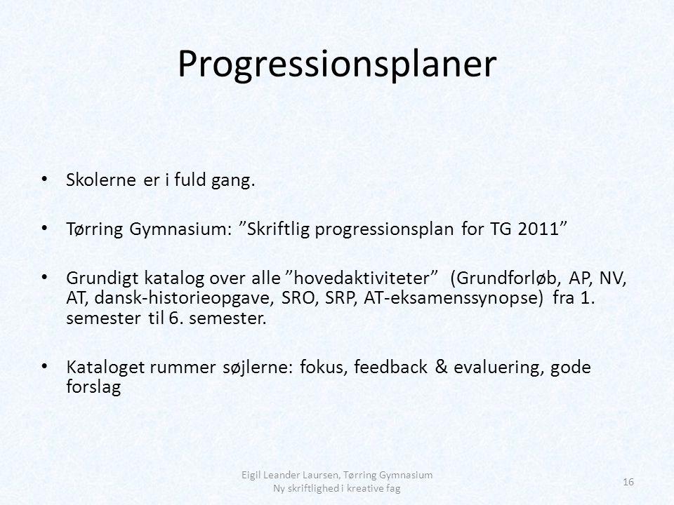 Progressionsplaner Skolerne er i fuld gang.