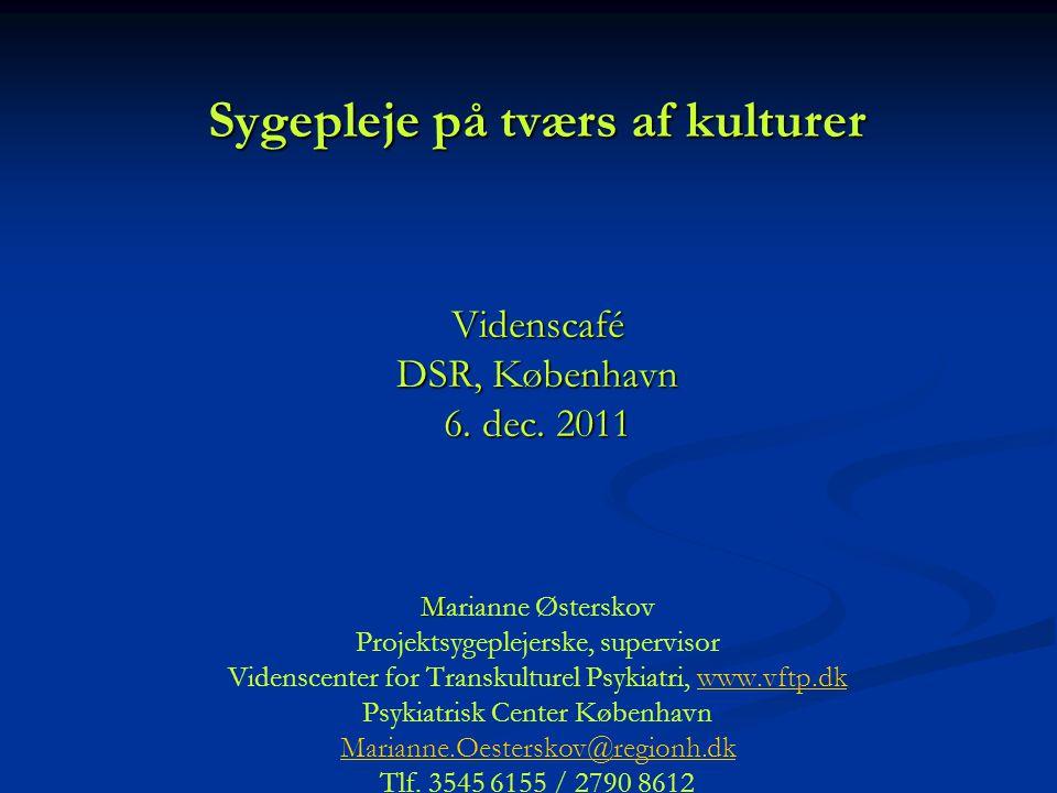 Kulturmøder i psykiatrien Sygepleje på tværs af kulturer Videnscafé DSR, København 6.