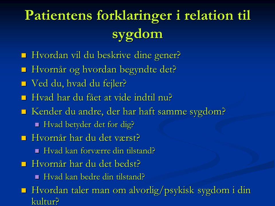 Patientens forklaringer i relation til sygdom