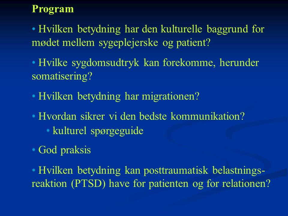 Program Hvilken betydning har den kulturelle baggrund for mødet mellem sygeplejerske og patient