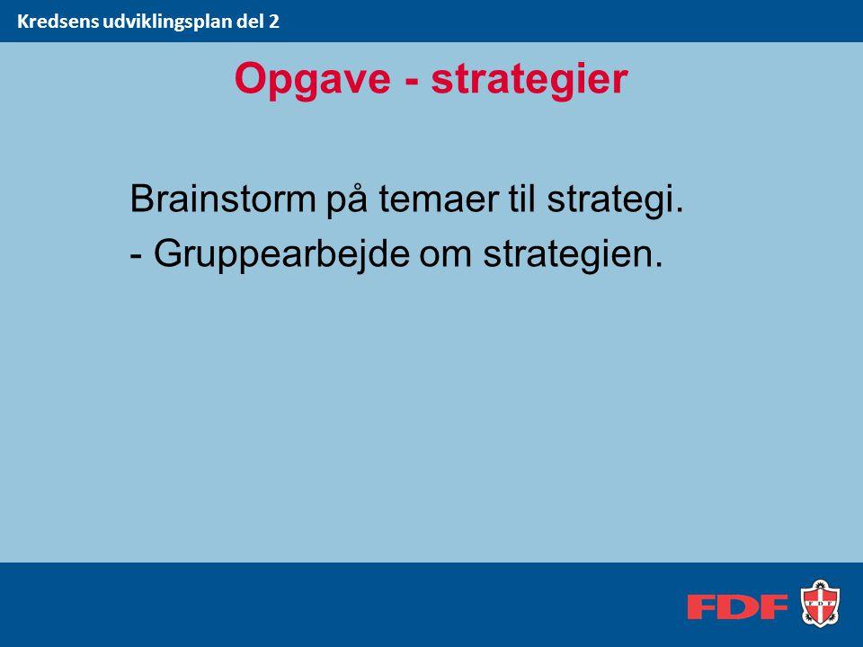 Brainstorm på temaer til strategi. - Gruppearbejde om strategien.