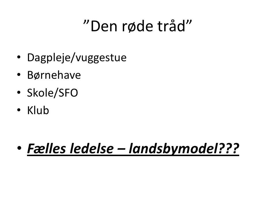 Den røde tråd Fælles ledelse – landsbymodel Dagpleje/vuggestue