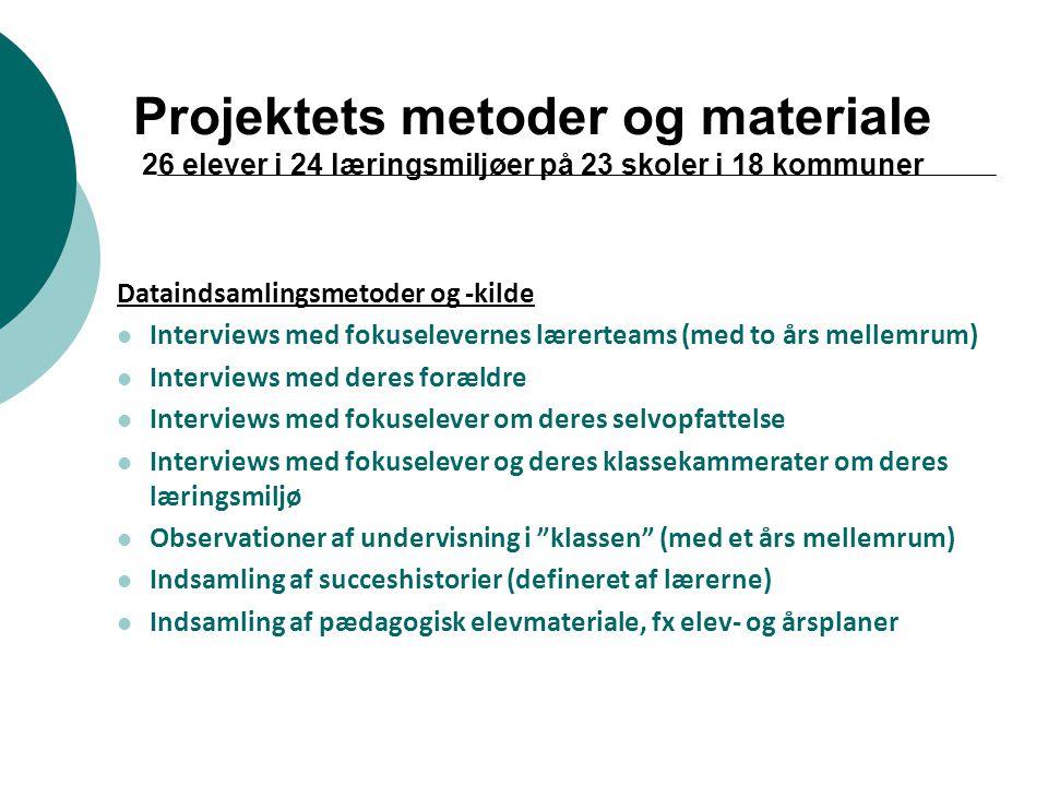 Projektets metoder og materiale 26 elever i 24 læringsmiljøer på 23 skoler i 18 kommuner