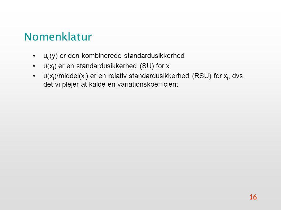 Nomenklatur uc(y) er den kombinerede standardusikkerhed