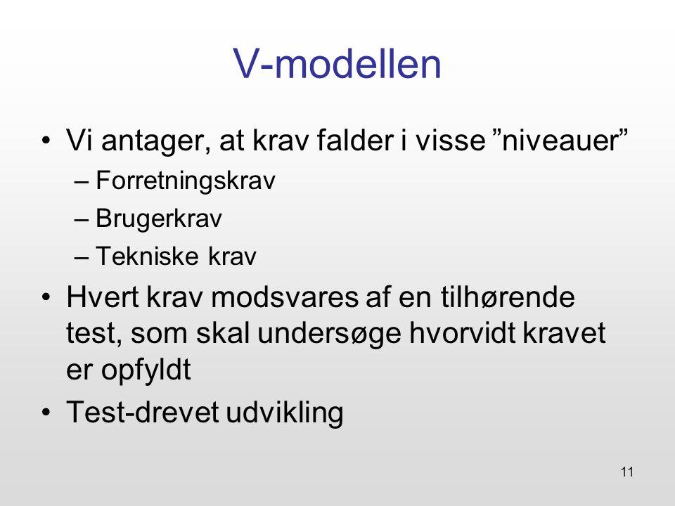 V-modellen Vi antager, at krav falder i visse niveauer