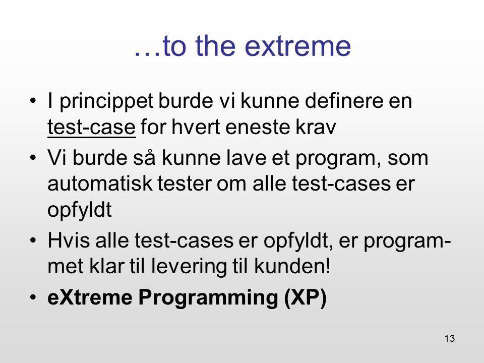 …to the extreme I princippet burde vi kunne definere en test-case for hvert eneste krav.