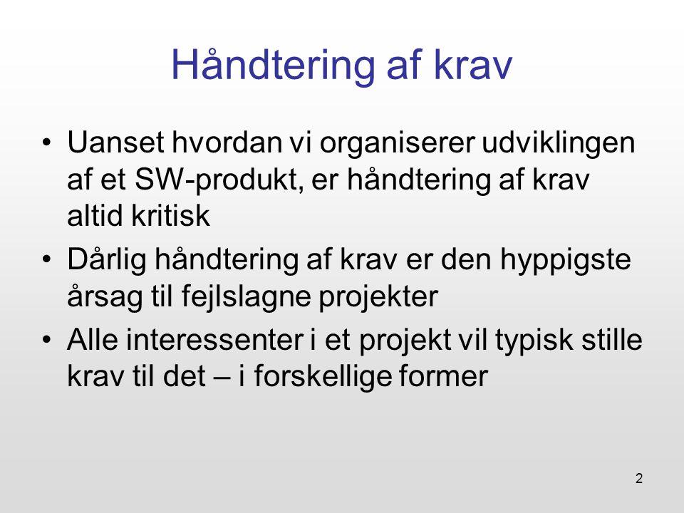 Håndtering af krav Uanset hvordan vi organiserer udviklingen af et SW-produkt, er håndtering af krav altid kritisk.