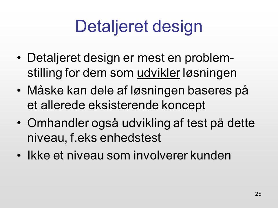 Detaljeret design Detaljeret design er mest en problem-stilling for dem som udvikler løsningen.