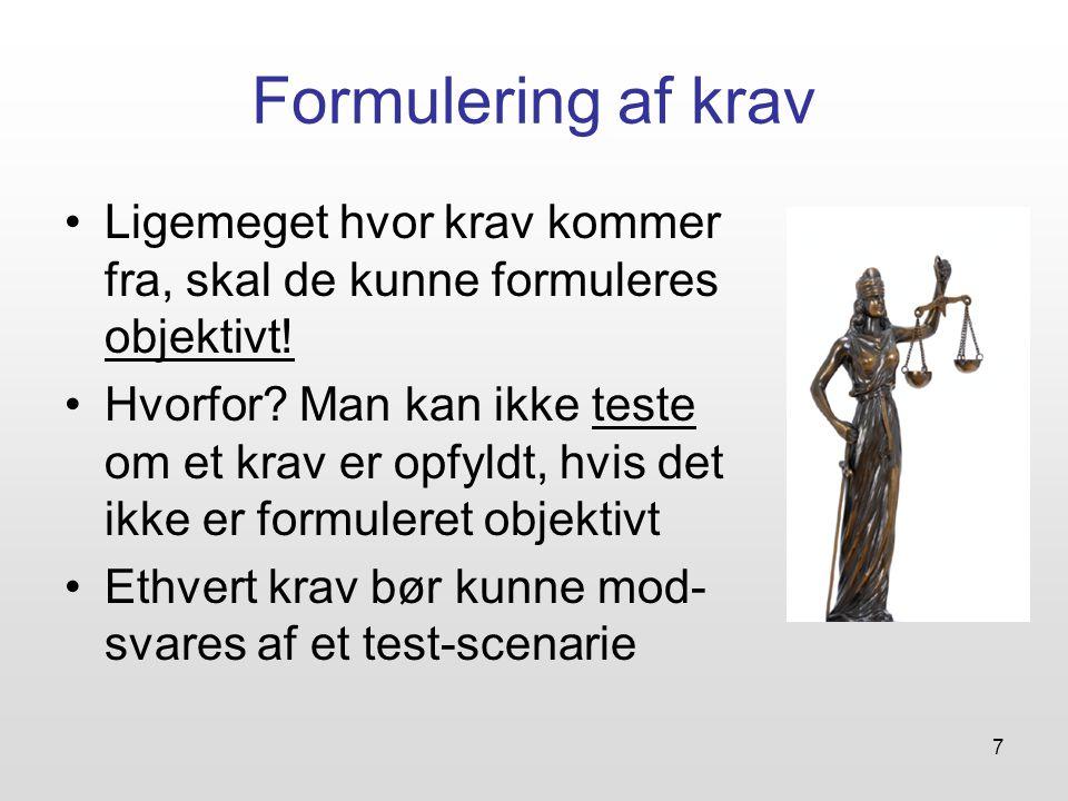 Formulering af krav Ligemeget hvor krav kommer fra, skal de kunne formuleres objektivt!