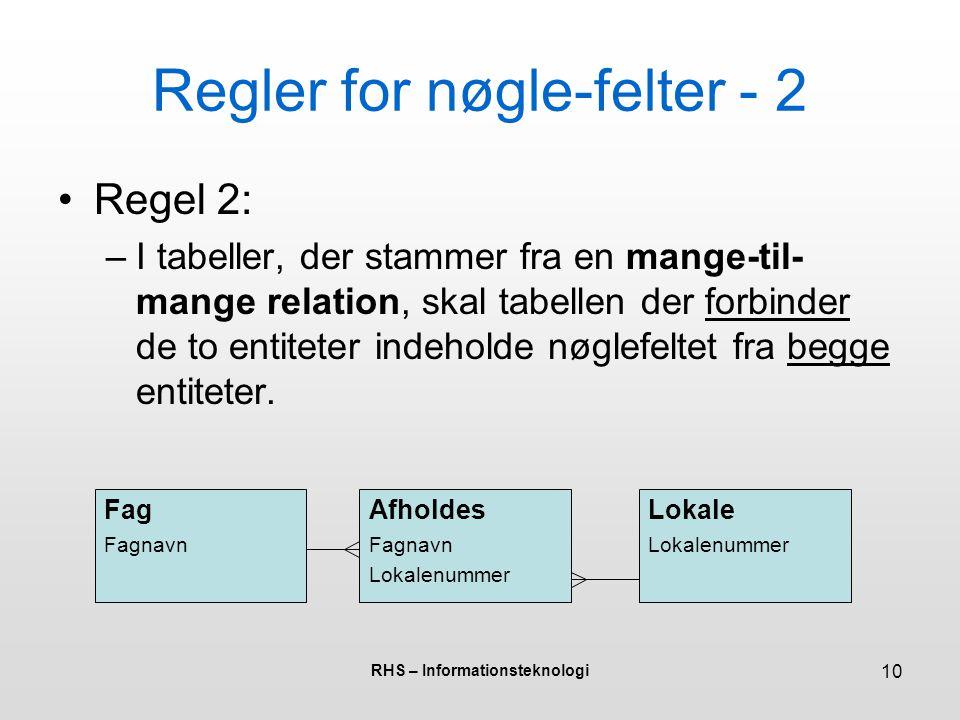 Regler for nøgle-felter - 2