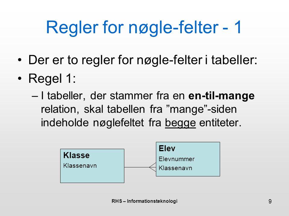 Regler for nøgle-felter - 1