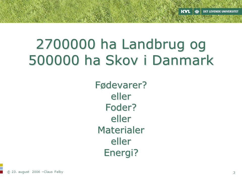 2700000 ha Landbrug og 500000 ha Skov i Danmark Fødevarer. eller Foder
