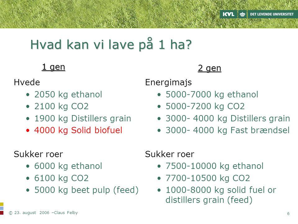 Hvad kan vi lave på 1 ha 1 gen 2 gen Hvede 2050 kg ethanol