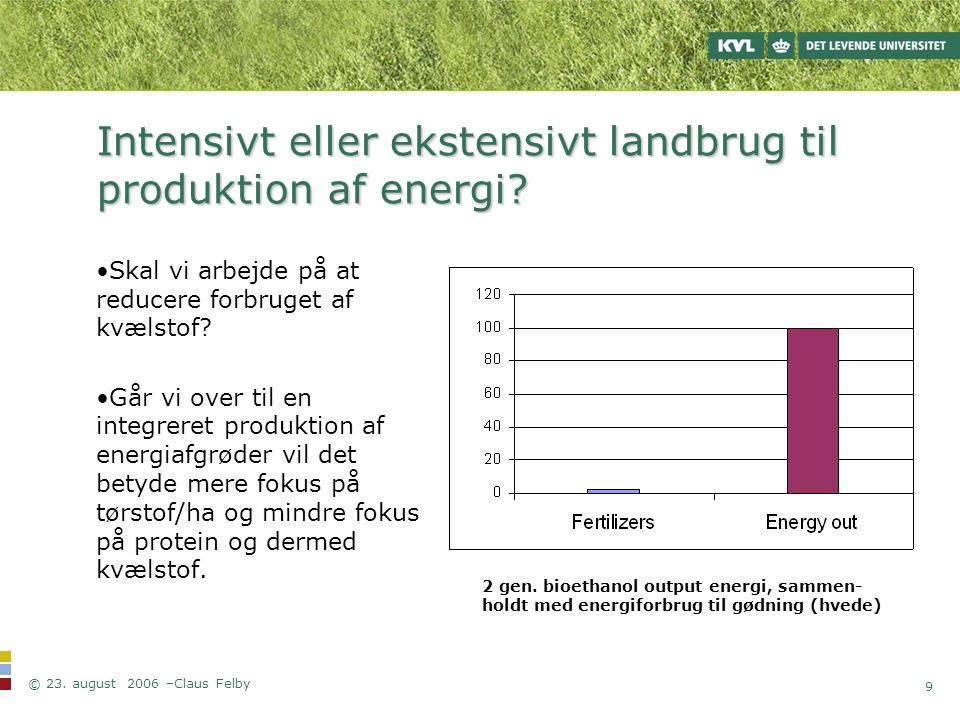 Intensivt eller ekstensivt landbrug til produktion af energi