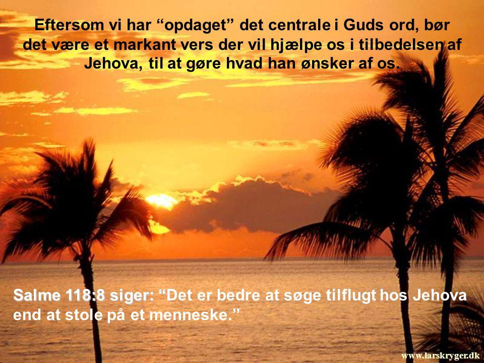Salme 118:8 siger: Det er bedre at søge tilflugt hos Jehova