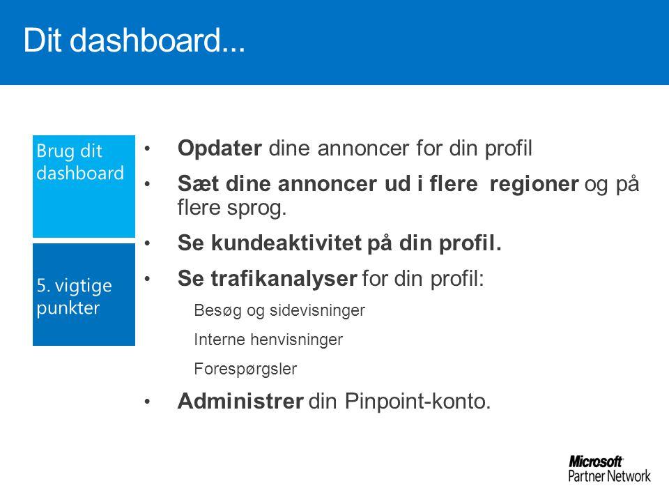 Dit dashboard... Opdater dine annoncer for din profil