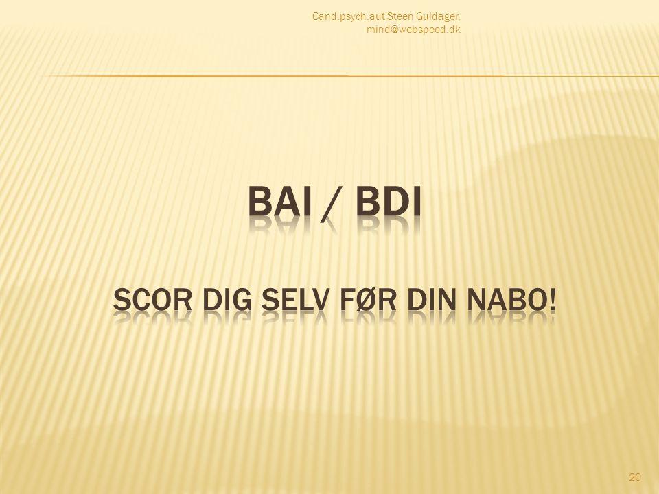 BAI / BDI scor dig selv før din nabo!