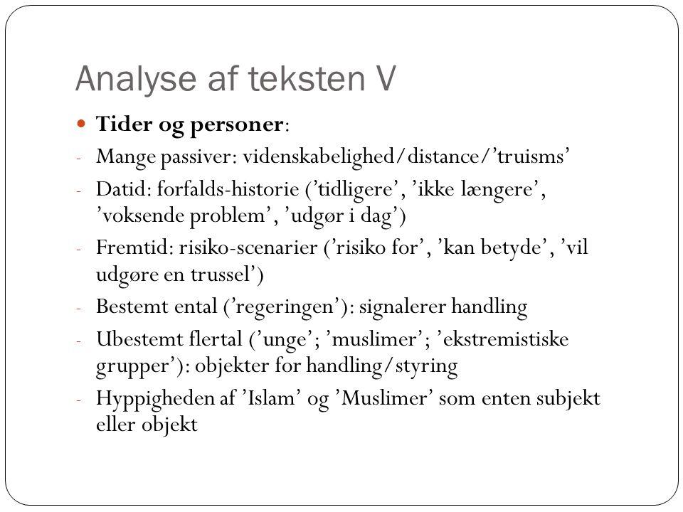Analyse af teksten V Tider og personer: