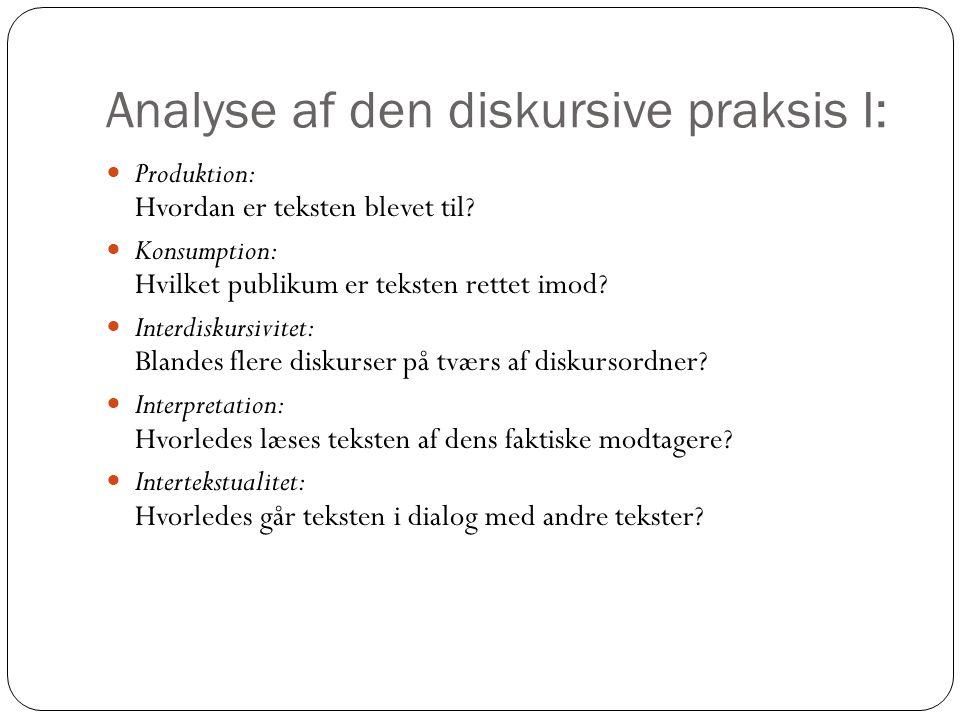 Analyse af den diskursive praksis I: