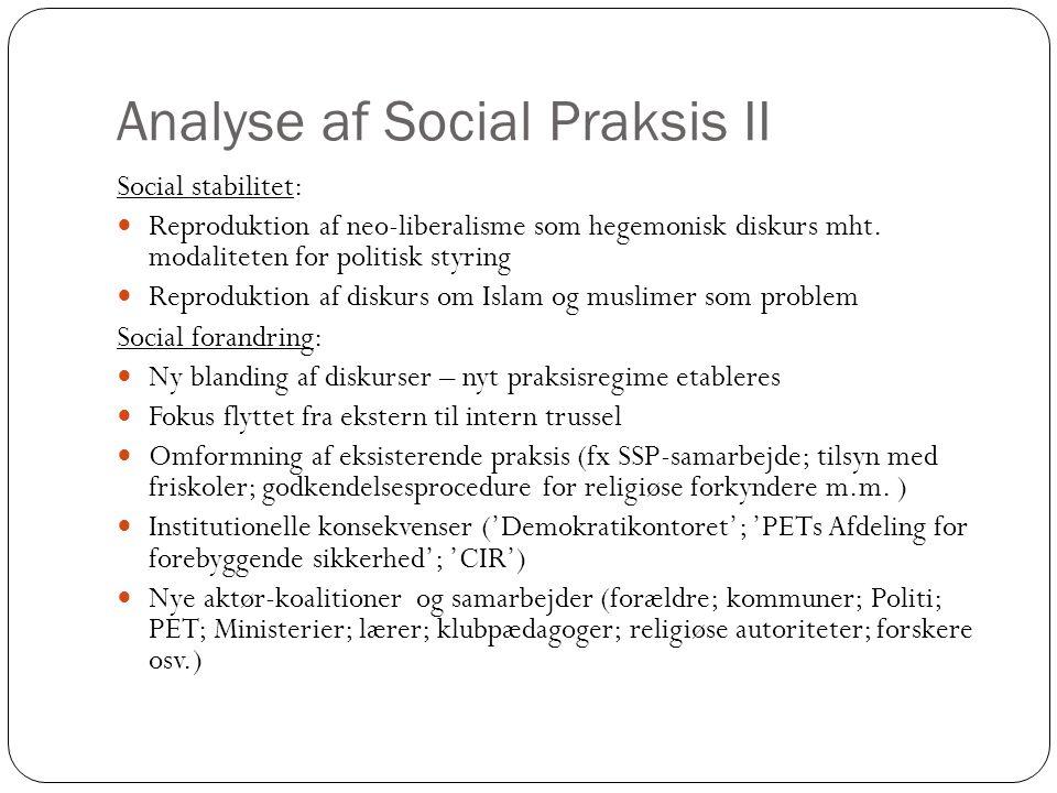 Analyse af Social Praksis II