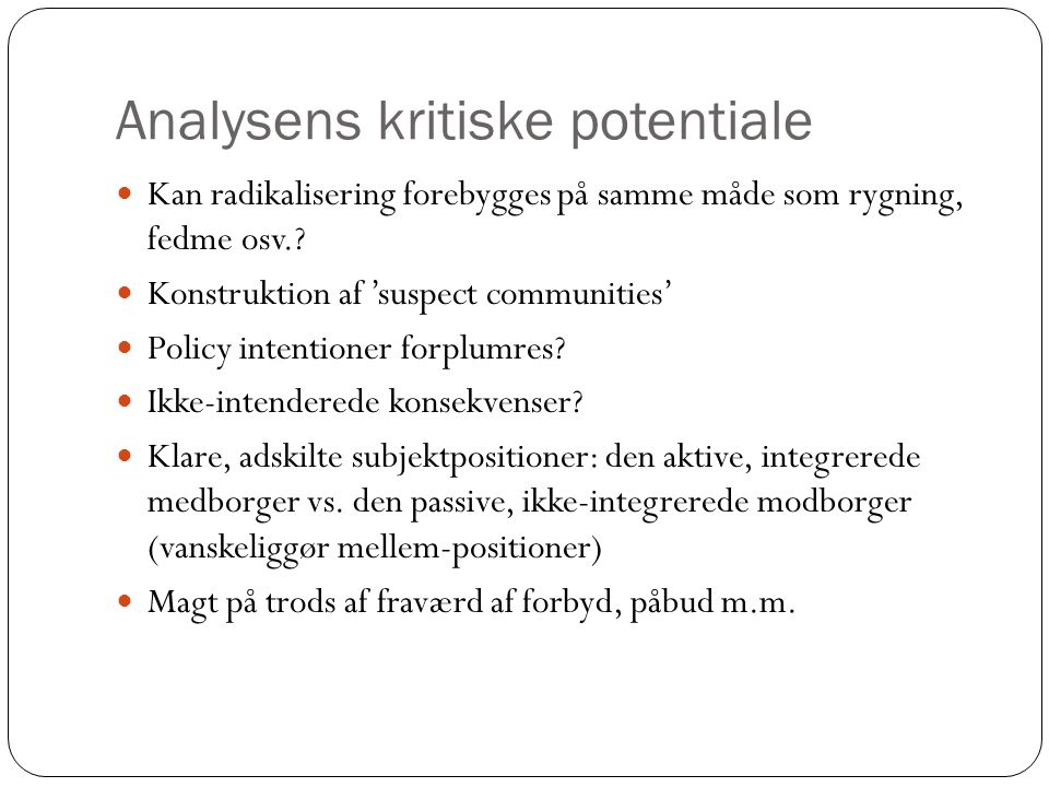 Analysens kritiske potentiale