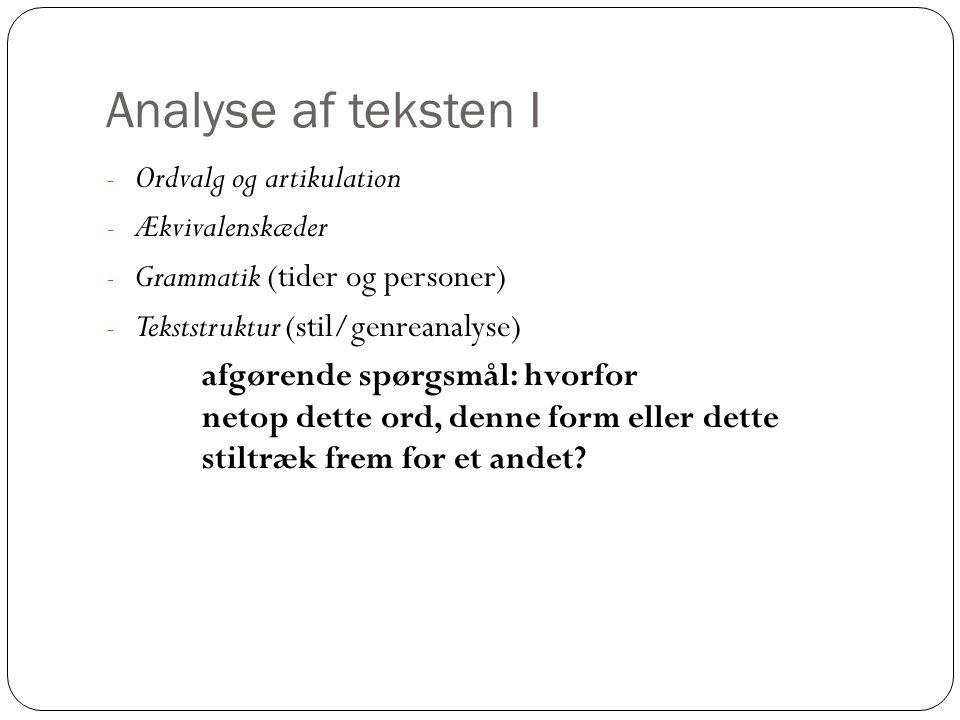 Analyse af teksten I Ordvalg og artikulation Ækvivalenskæder