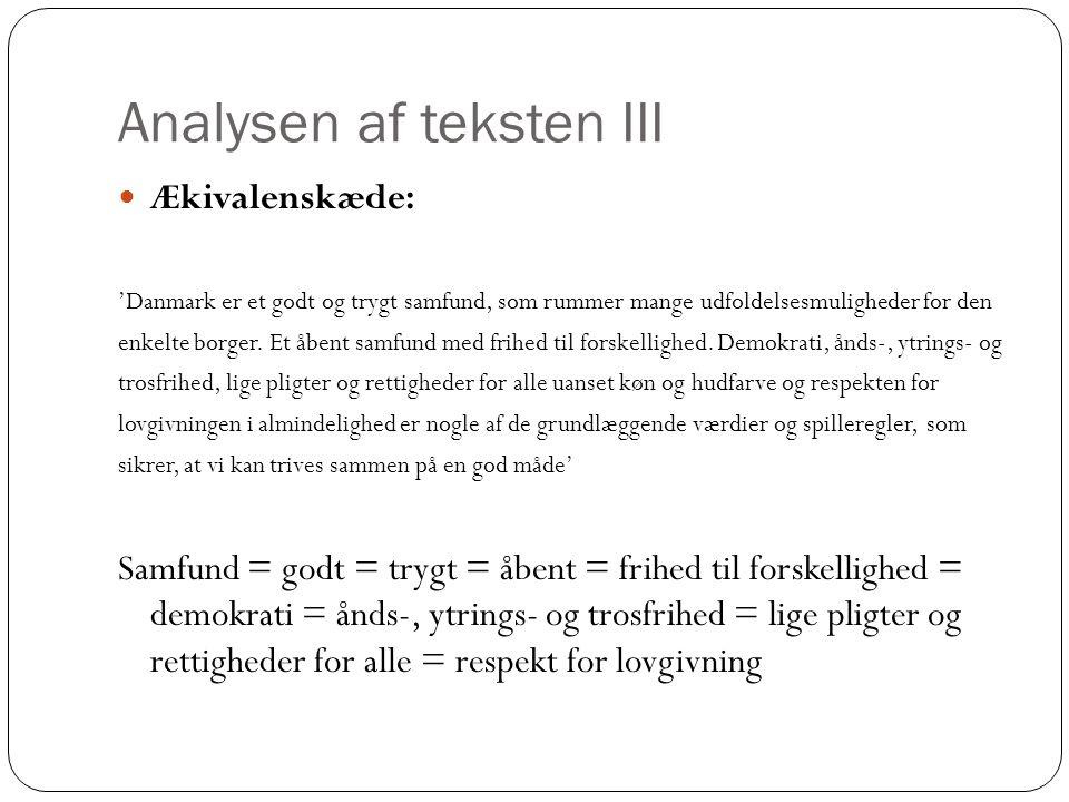 Analysen af teksten III