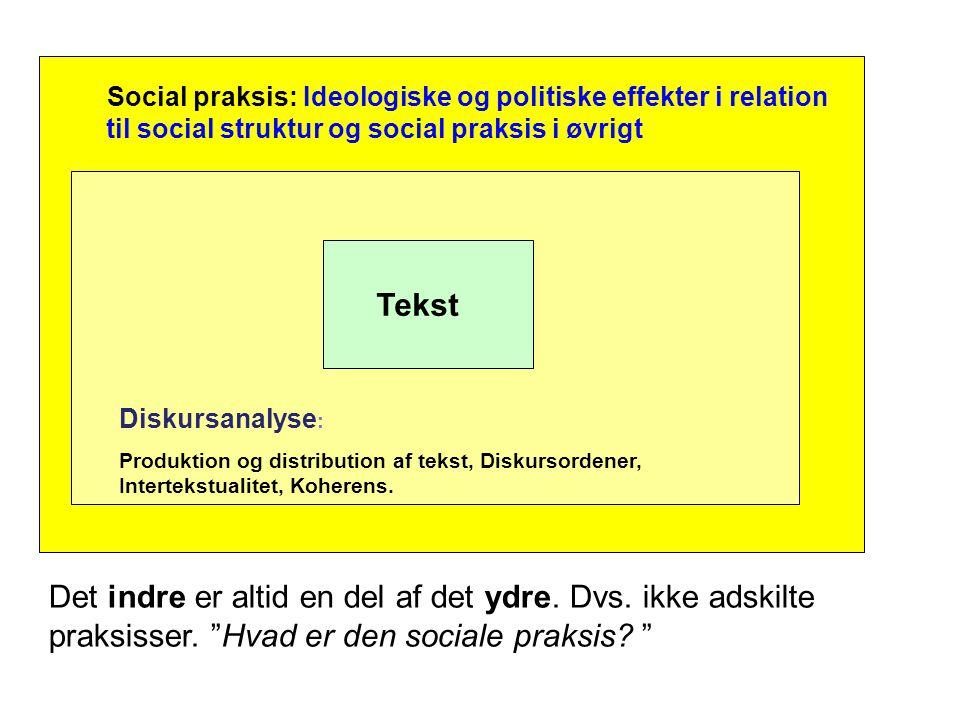 Social praksis: Ideologiske og politiske effekter i relation til social struktur og social praksis i øvrigt