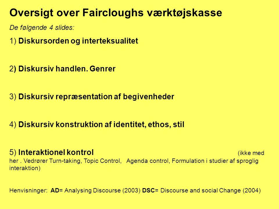 Oversigt over Faircloughs værktøjskasse