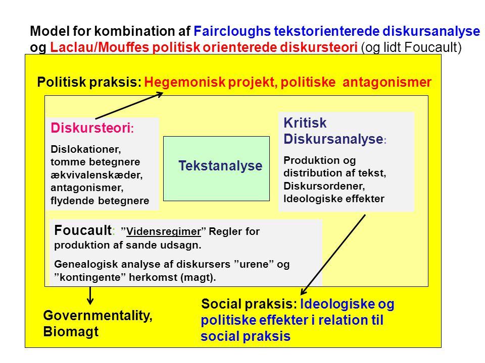 Model for kombination af Faircloughs tekstorienterede diskursanalyse