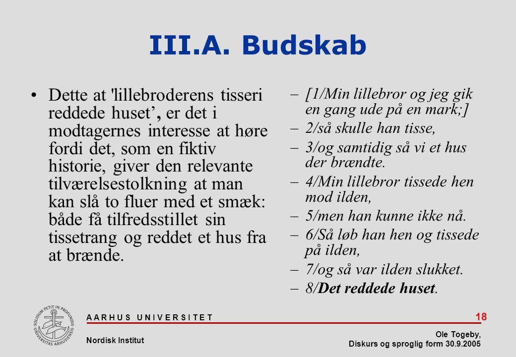 III.A. Budskab